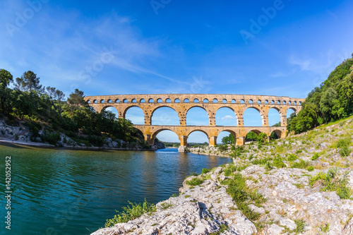 Three-tiered aqueduct Pont du Gard in  Provence