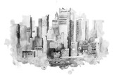 watercolor drawing of New York cityscape, USA. Manhattan aquarelle painting - 142055558