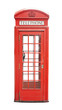 roleta: Traditional telephone booth in London, UK. isolated on white background