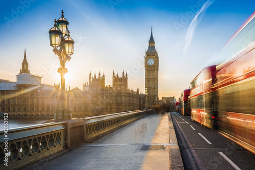 London, England - The iconic Big Ben and the Houses of Parliament with lamp post Poster