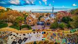 Barcelona,Catalonia, Spain: thePark Guell of Antoni Gaudi at sunset