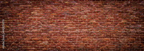 panoramic view of masonry, brick wall as background - 142076178