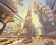 Fantastic city of the future. Concept art illustration. Sketch gaming design. Hand drawn vector painting.