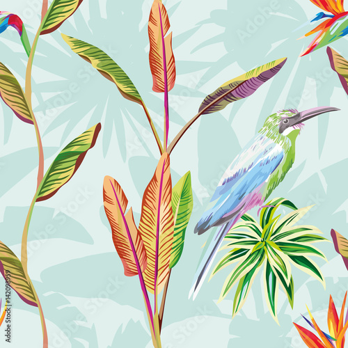 Seamless composition of tropical leaves flowers and bird green mint background - 142098959