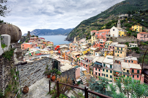 Aerial view on city of Vernazza town in Cinque Terre national park, Italy Poster