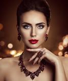 Fashion Model Beauty Makeup and Jewelry, Elegant Woman Beautiful Face Make Up, Jewellery