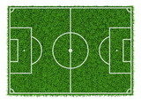 Fototapety Top view of green grass soccer field, vector illustration.