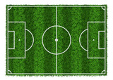 Fototapety Top view of green grass striped soccer field, vector illustration.
