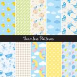 Vector illustration of seamless baby boy pattern set.