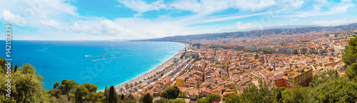 Spoed canvasdoek 2cm dik Nice Panoramic view of beach in Nice