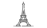 Eiffel Tower historic site, Eiffel Tower heritage site, Eiffel Tower icon vector