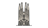 Sagrada Familia historic site, Sagrada Familia heritage site, Sagrada Familia icon vector - 142154550