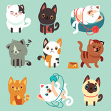 Cute cartoon cats, funny playful kittens vector set