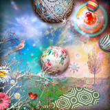 Enchanted countryside with starry sky,collage and planets