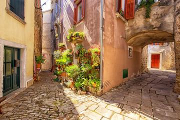 street scene in Buje, Croatia.