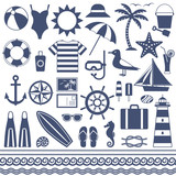 Sea and summer vector silhouette icons 1 - 142175169