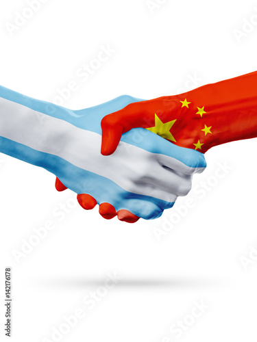 Poster Flags Argentina, China countries, partnership, national sports team