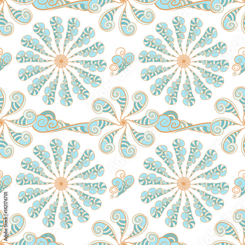 abstrakta-wzor-z-blekitna-i-pomaranczowa-helix-i-kwiatami