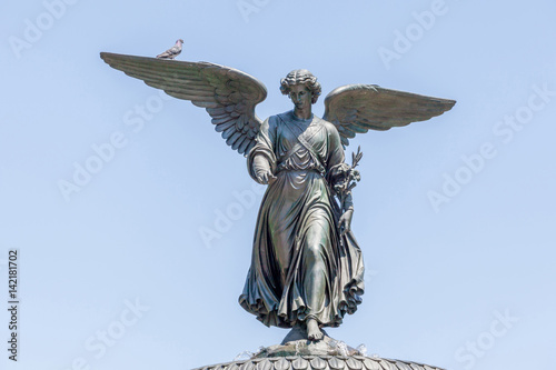 Bethesda Fountain (Angel of water fountain) located in Central Park, New York City, USA Poster