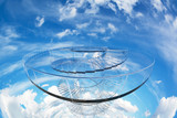 design element. 3D illustration. rendering. glass spiral stairs tower into blue sky color image
