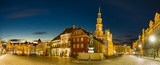 Main square of the old town of Poznan, Poland,Night panorama of old town