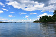 White Fluffy Clouds on a Summer Day in Casco Bay Maine