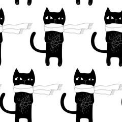 Cartoon Cat Seamless Pattern