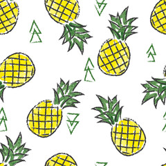 Seamless watercolor contrast pineapple pattern. Vector hand drawn fruit background.