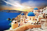 Amazing Santorini over sunrise. View of Oia village with famous blue churches. Greece - 142209981