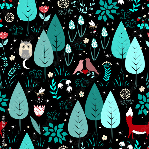 Materiał do szycia Wiosenny lub letni wzór z fox, ptaków, kwiatów i drzew. Tło ładny las magia