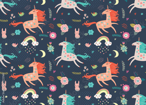 Cotton fabric Seamless pattern with unicorns