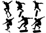 Set of silhouettes teenager jumping on a skateboard