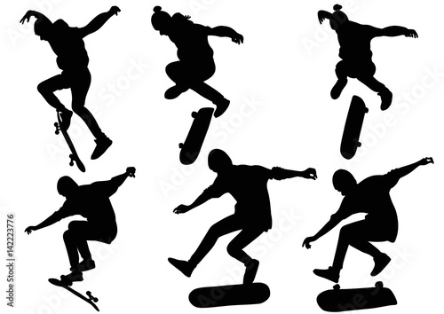 Fotobehang Skateboard Set of silhouettes teenager jumping on a skateboard