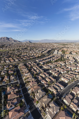 Poster Aerial view of suburban bedroom community in Las Vegas, Nevada.