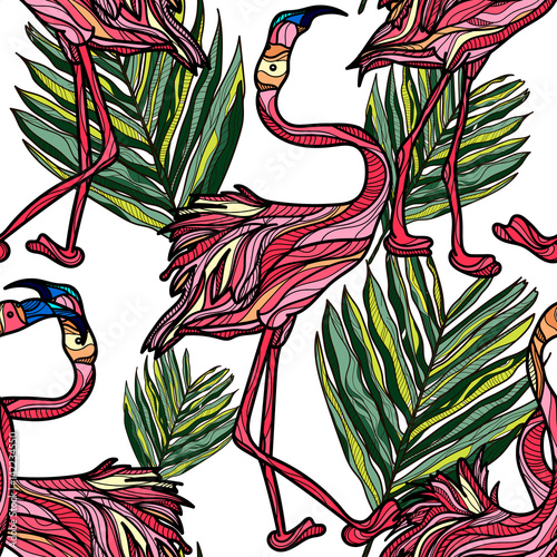 Seamless pattern with pink flamingo on white background. Vector illustration.