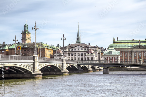 Poster View of bridges of Stockholm and Sankt Nikolai kyrka