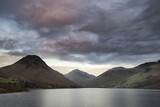 Beautiful landscape image of mountains around Wast Water in Lake District England in Autumn