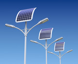 Row of LED street lamp with solar panel - 142245745