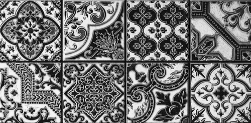 Mozaika, abstrakcyjny wzór geometryczny, ceramika, dachówka