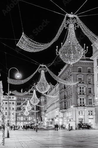 Poster Vienna Inner City decorated for  Christmas season