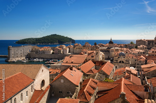 Old Town Dubrovnik and Lokrum Island view from  City Walls Poster