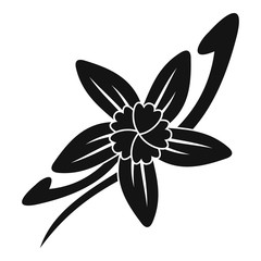 Vanilla sticks with a flower icon, simple style