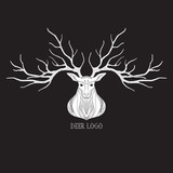 Deer head silhouette logo design, vector illustration