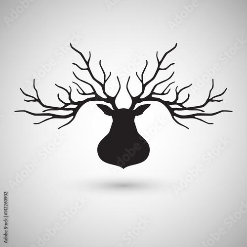 Fotobehang Hipster Hert Deer head silhouette logo design, vector illustration