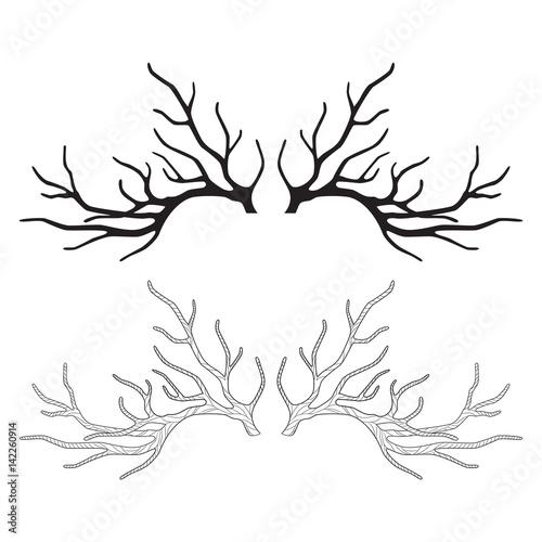Fotobehang Hipster Hert Deer antlers for your design, horns, graphic silhouette, vector illustration
