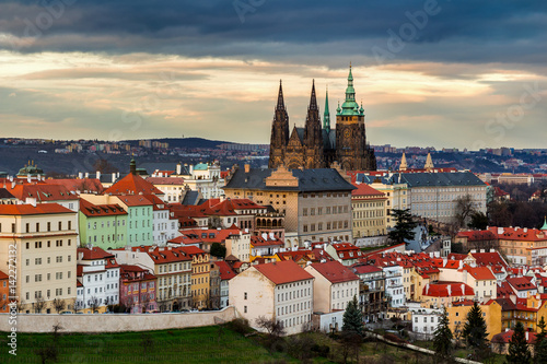 Poster Prague castle and St. Vitus Cathedral. Czechia