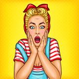 Vector pop sztuki ilustracji zszokowany gospodyni kobieta z zdziwiony twarzy i otwarte usta. Doskonały plakat reklamowy z rabatami reklamowymi i sprzedażą w stylu pop-artu