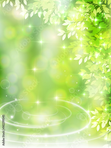 Tuinposter Lime groen 新緑 葉 風景 背景