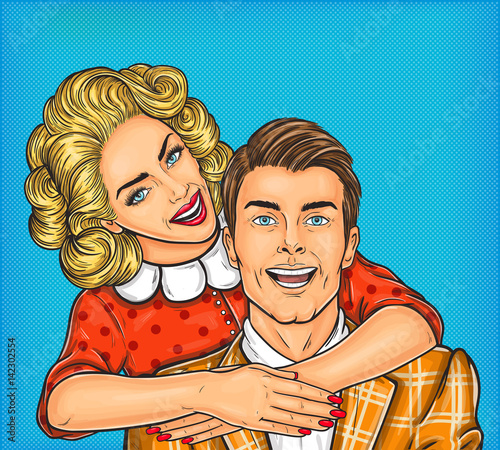 Fotobehang Pop Art pop art illustration of a young woman hugs her man