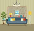 Retro interior living room with bookcase,sofa, houseplant monstera. Vector flat illustration - 142314908